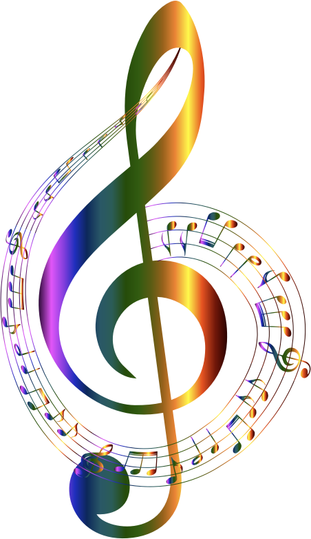 Music note clipart rainbow. Chromatic musical notes typography
