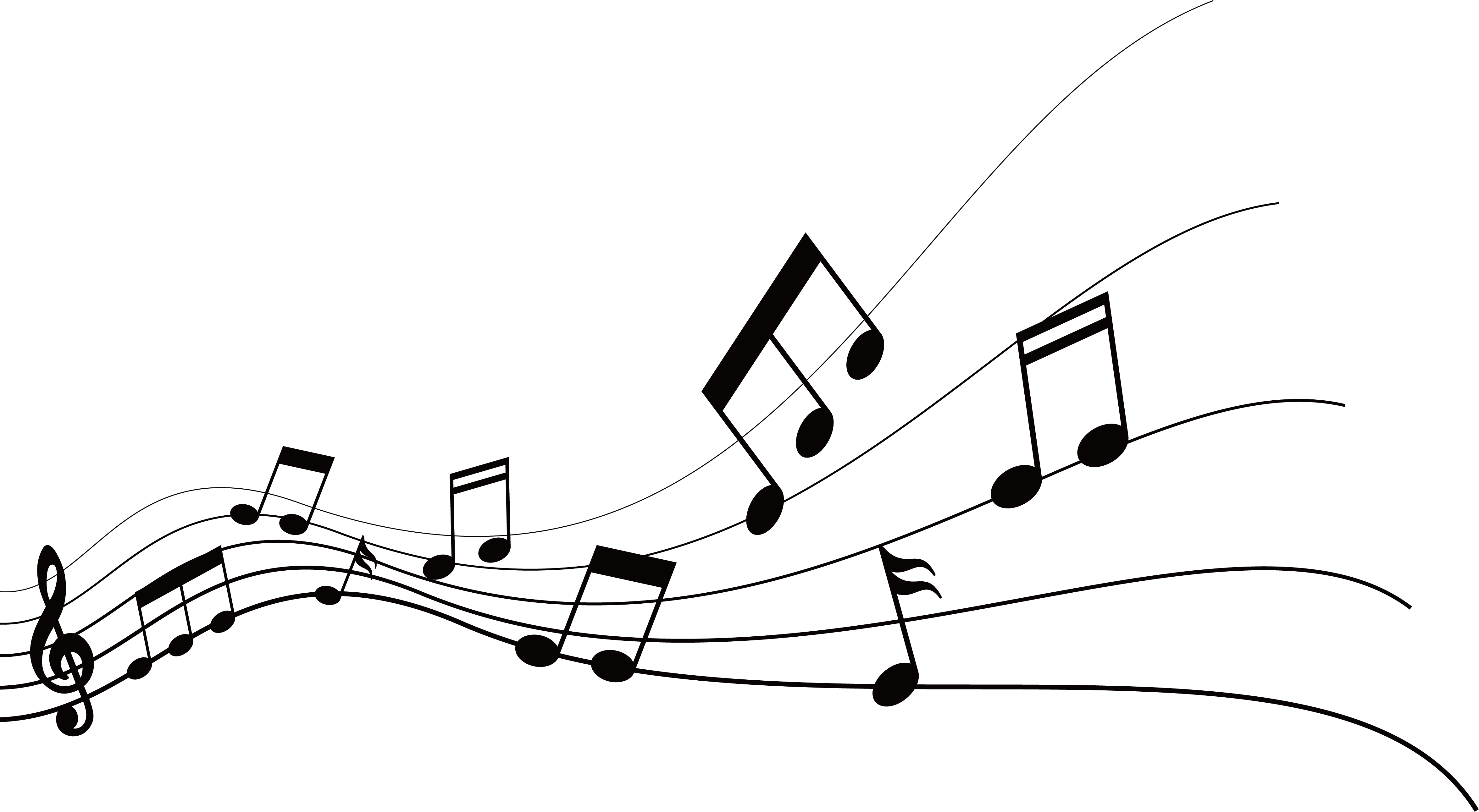 Music note design png. Musical graphic flying notes