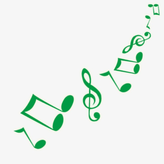 Music note png cartoon. Green notes image and
