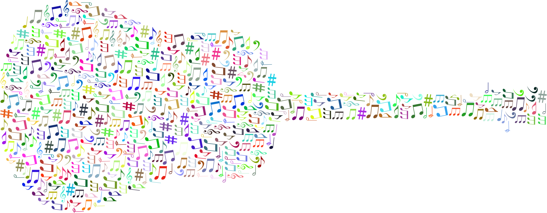 Colorful music notes png. Prismatic musical old fashioned