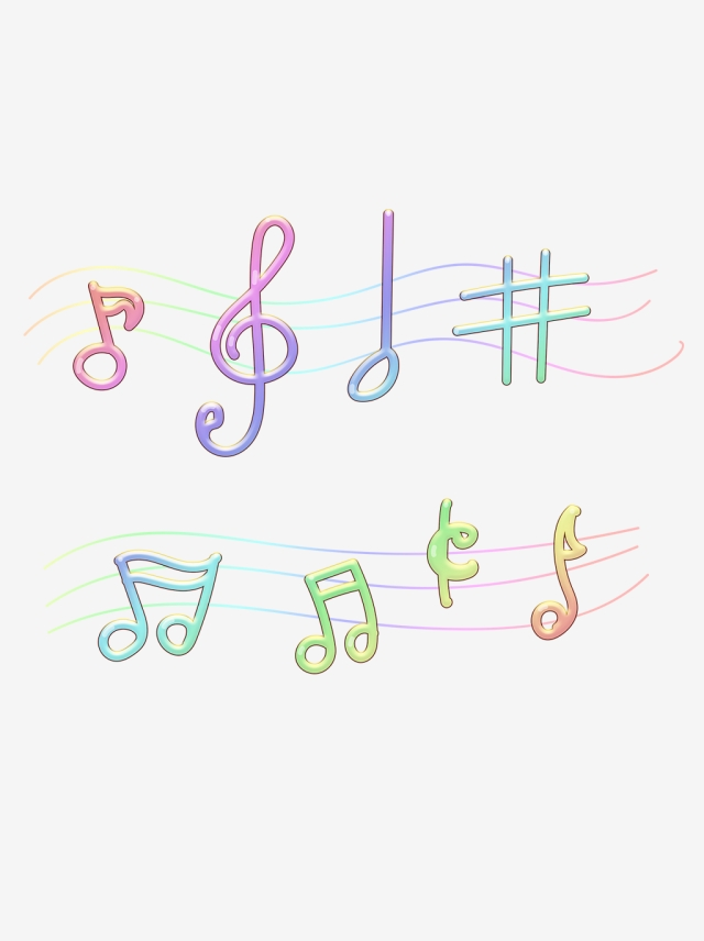 Music note png rainbow. Beat creative notes image