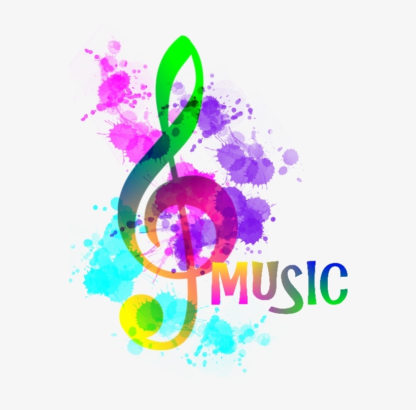 Music note png rainbow. Notes funky treble clef