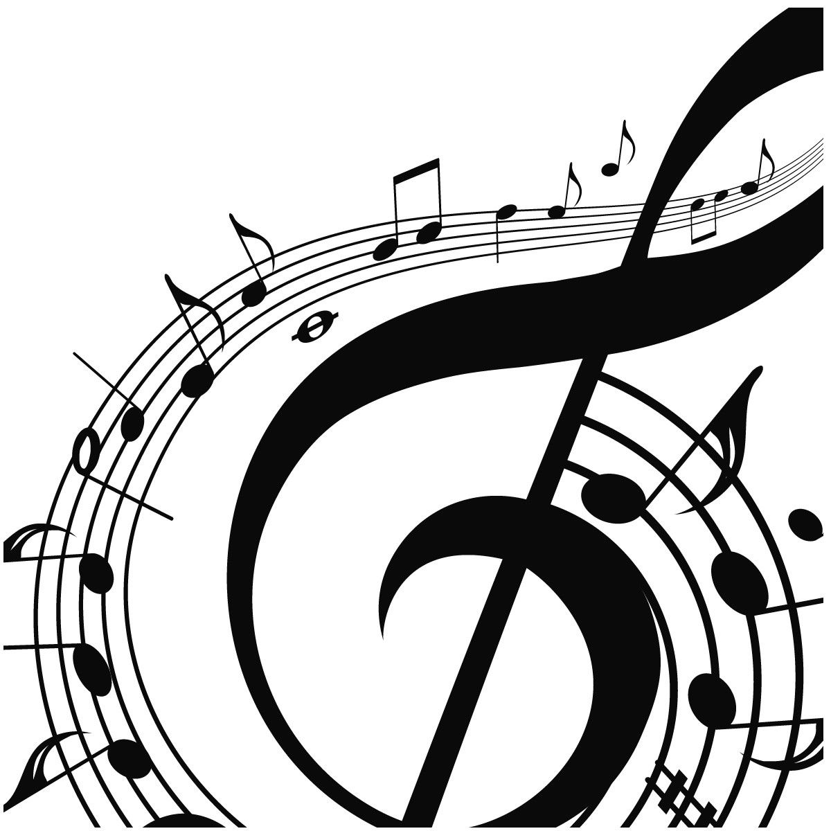 Music note png silhouette. Musical notes swirling around