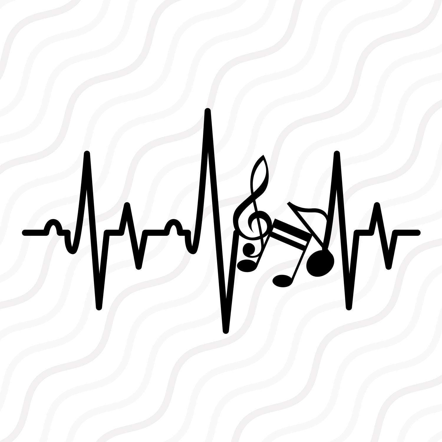 Music note png silhouette. Heartbeat svg cut etsy