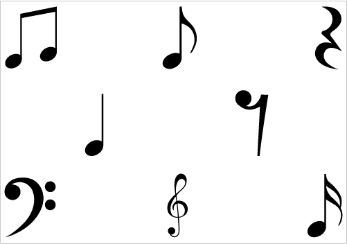 Music note png silhouette. Free vector download clip