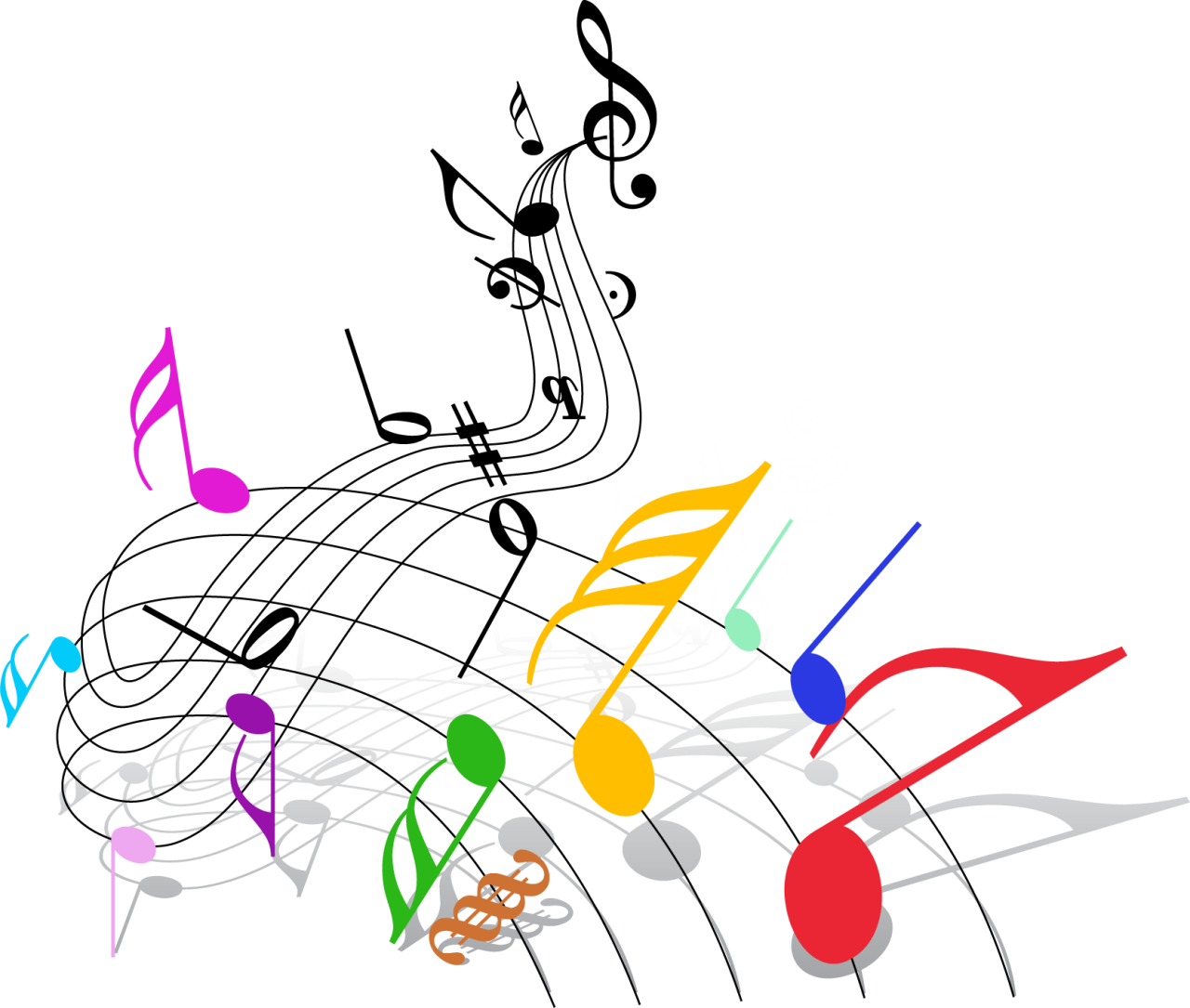 Colorful music note png. Musical theatre clip art