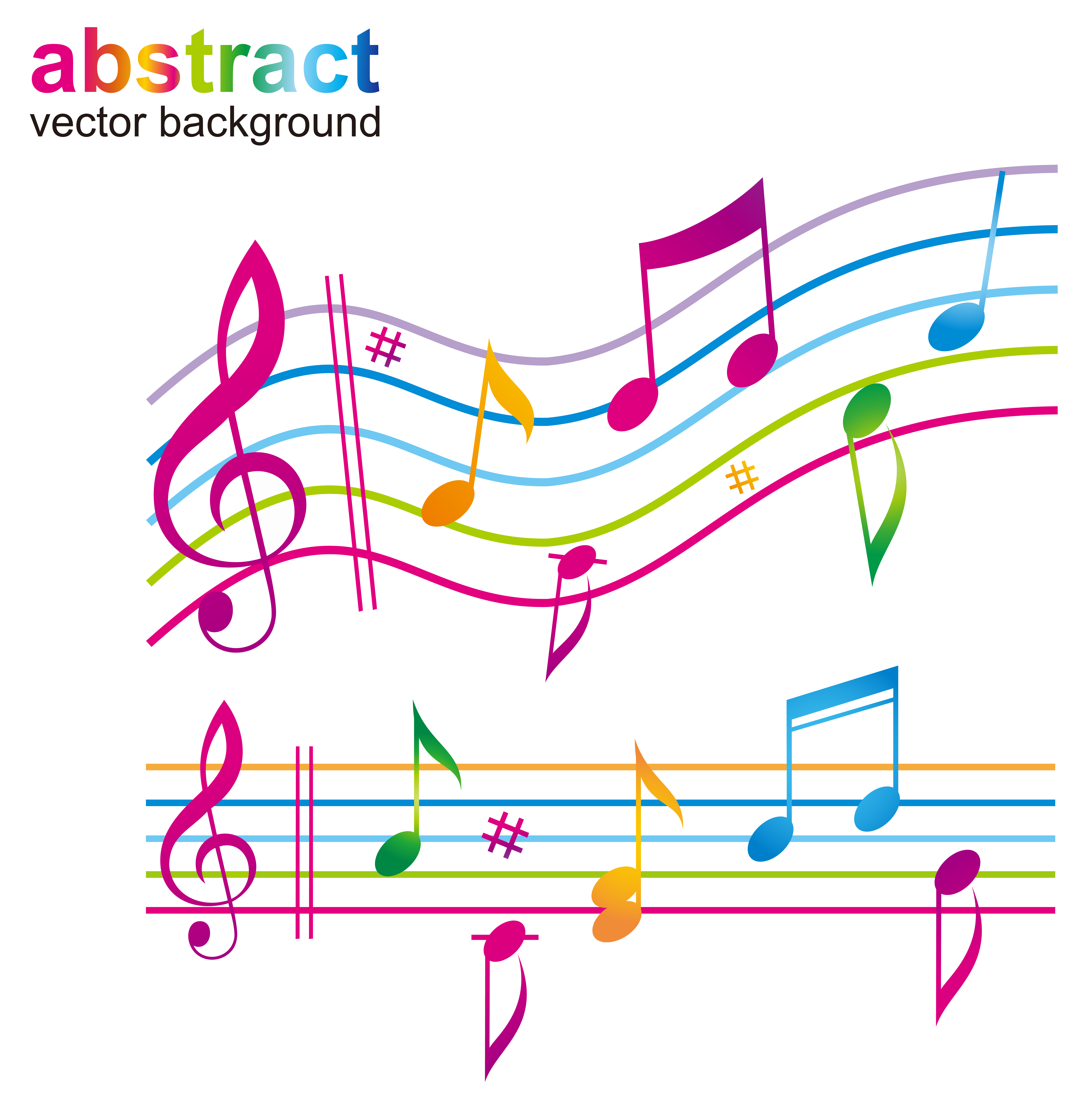 Staff music notes png. Musical note color sheet