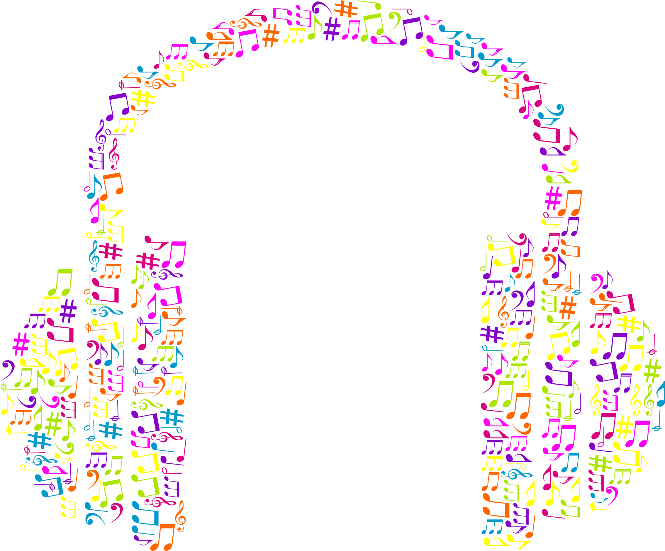 Music notes background png. Clipart musical headphone no