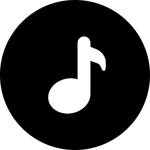 Music note png white. Inside a circle free