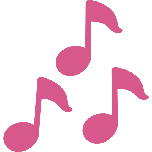 Pink music notes png. Multiple musical emoji for