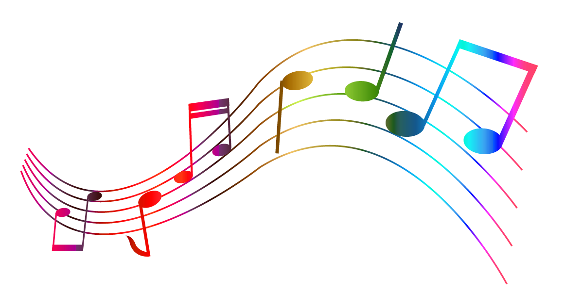 Music notes flowing png. Transparent colorful clipart gallery