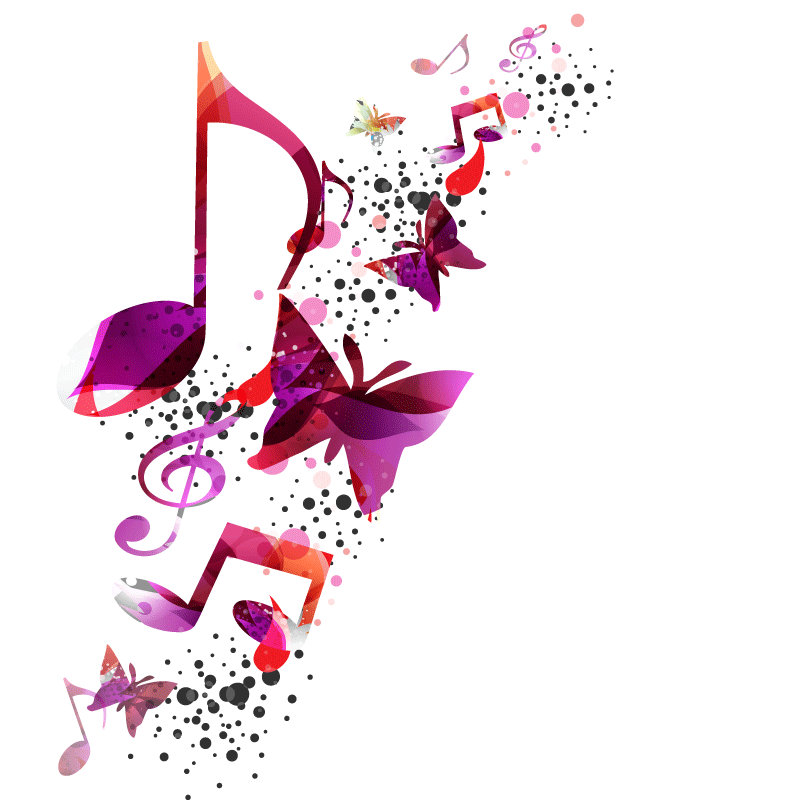Music notes heart png. Note butterfly gradient color