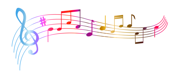 Music notes in air png. Transparent colorful clipart picture