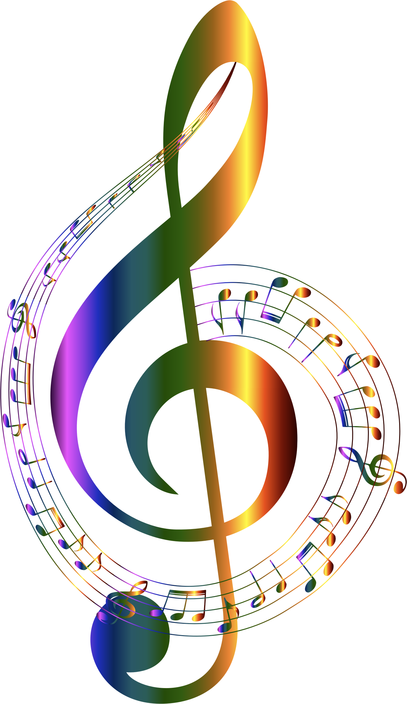 Chromatic musical typography no. Colorful music notes on a staff png clip library stock