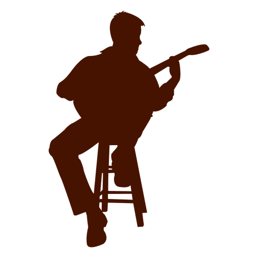 Music silhouette png. Musician seated guitarist transparent