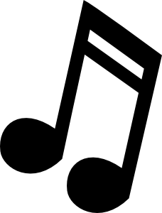 music note clipart black and white