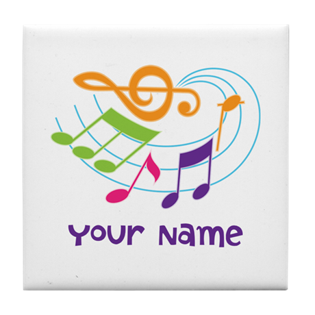 Musical clipart swirl. Personalized music tile coaster