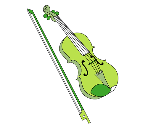 Fiddle drawing small violin. Carnatic music south indian