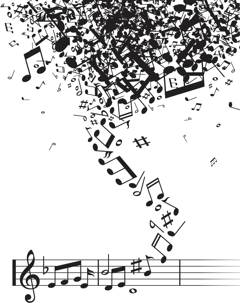 Notes vector tornado. Musical note notation music