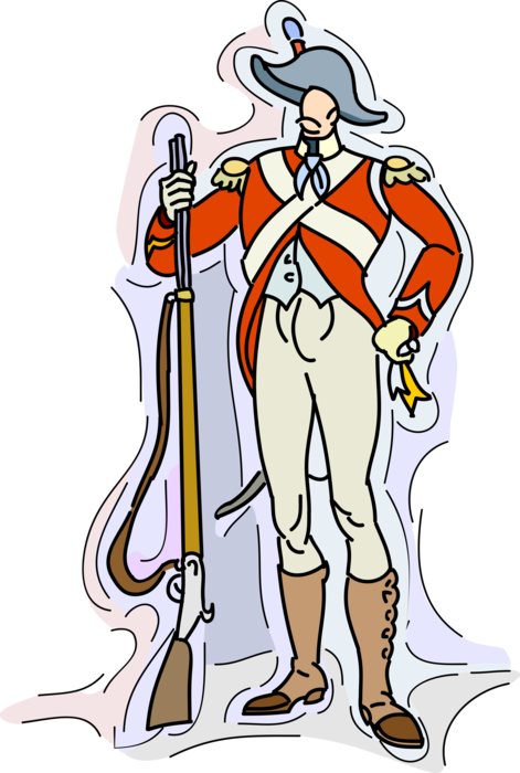 Musket vector clip art. Military soldier with rifle