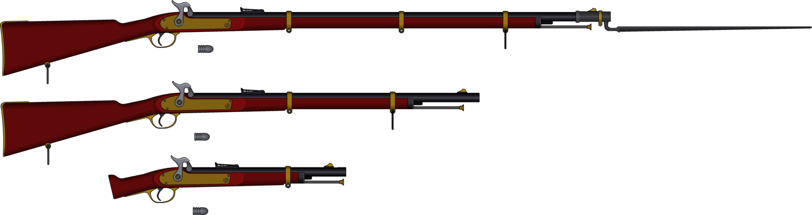 Musket vector. Collection of drawing