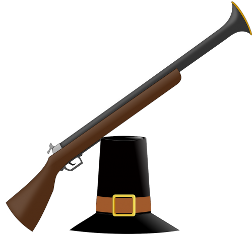 Patriot vector musket. Weapon arms hunting hat