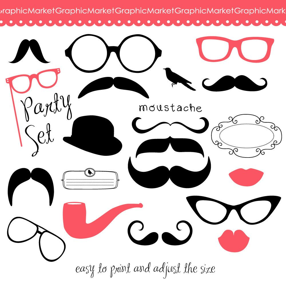 Mustache clipart party prop. Spectacles and lips kiss