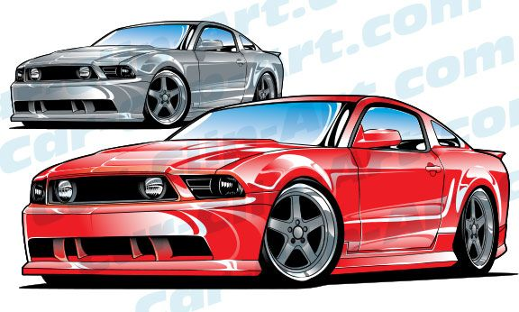 Mustang clipart jdm car. Late model ford vector