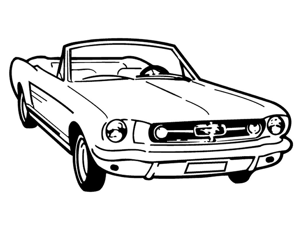 Mustang clipart side. Car black and white