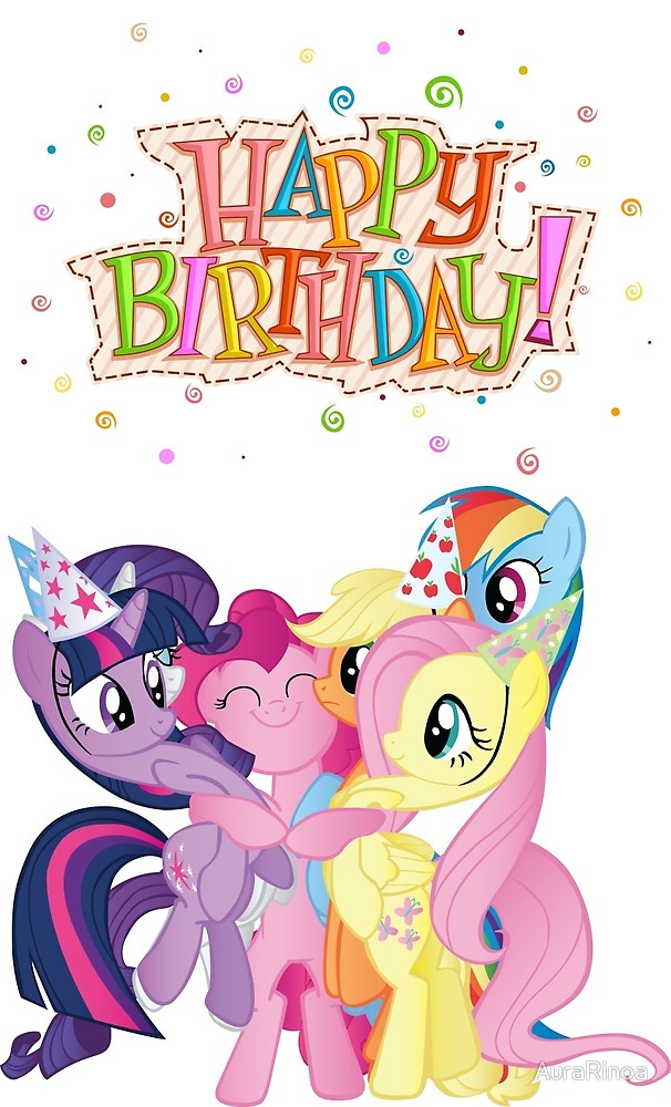My little clipart birthday. Happy with pony by