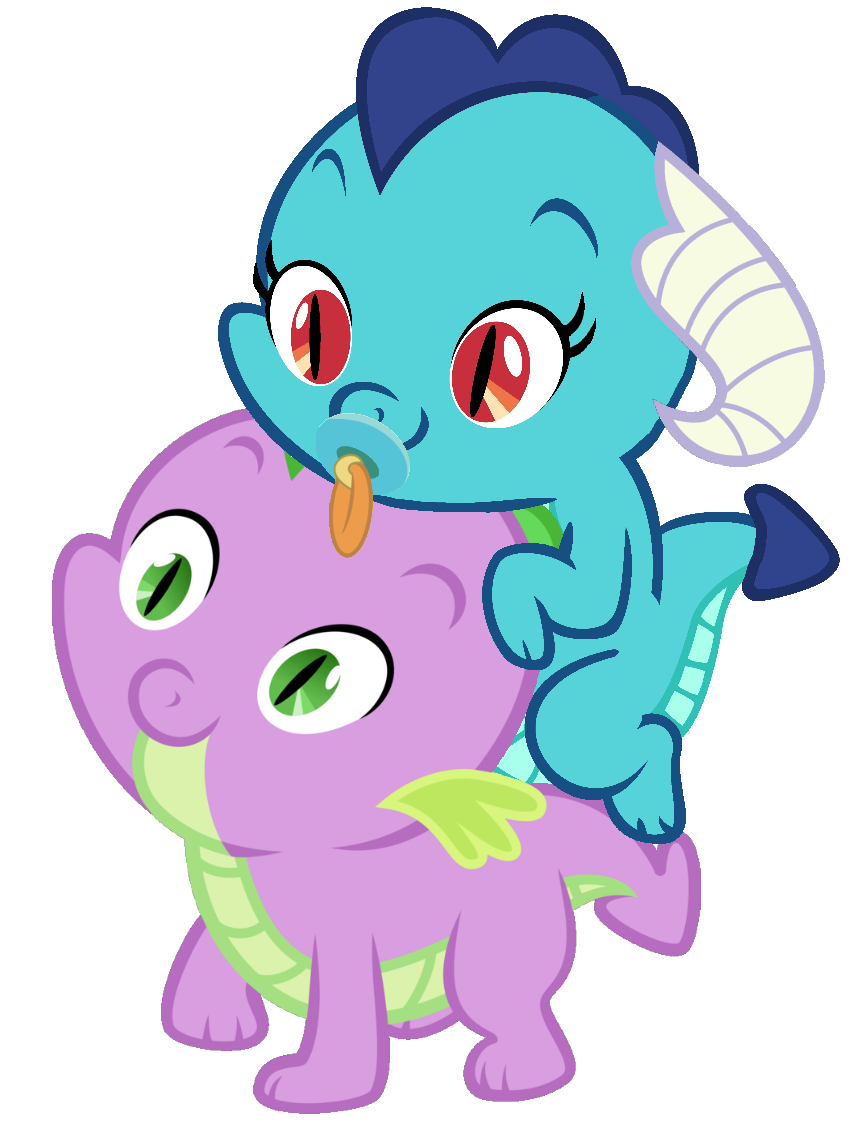 My little clipart spike. Princess ember riding pony