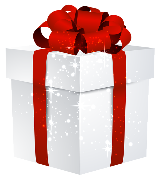 Vector presents gift clipart. White shining box with