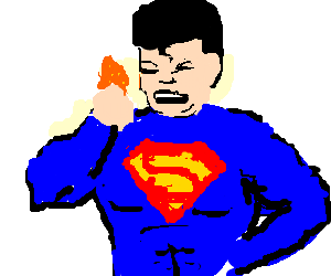 Nachos drawing person. Chinese superman eats by