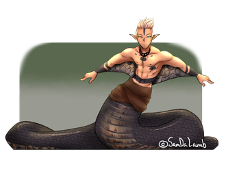 Naga drawing black mamba. Closed male adopt auction