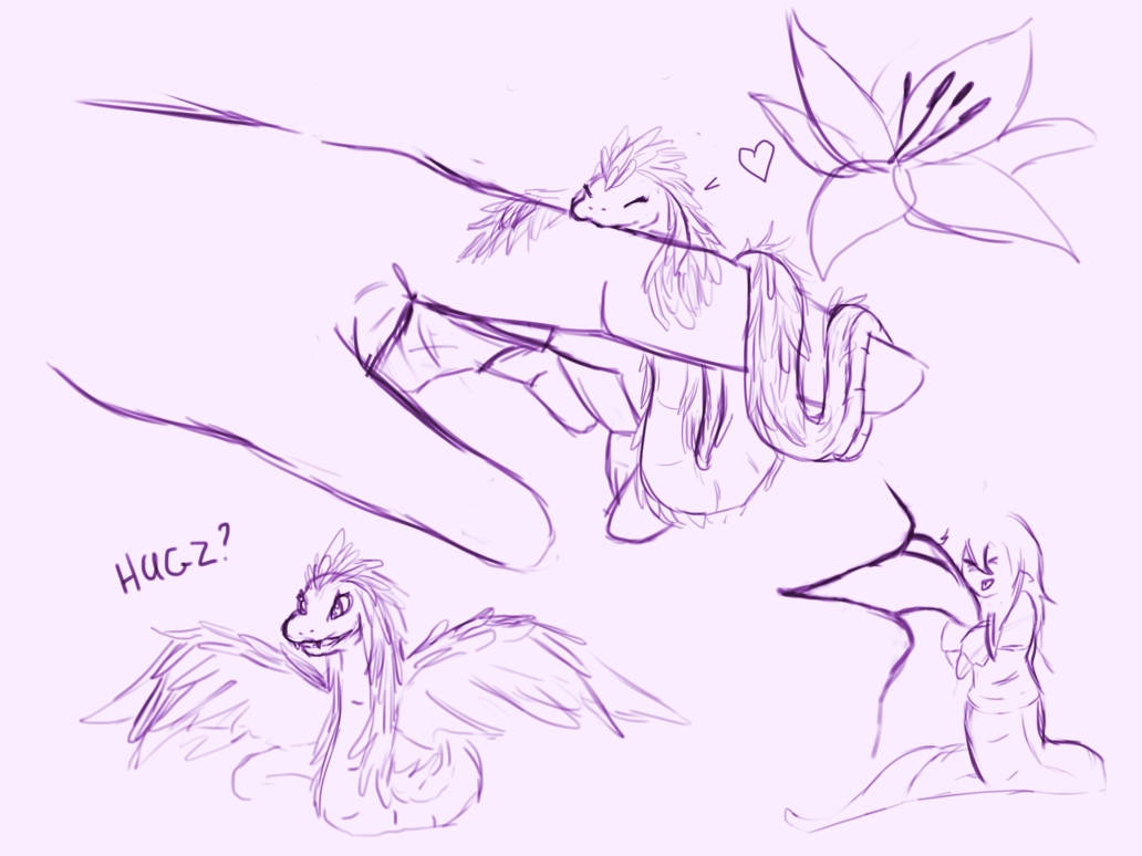 Naga drawing giant. Sketches wave noodle ring