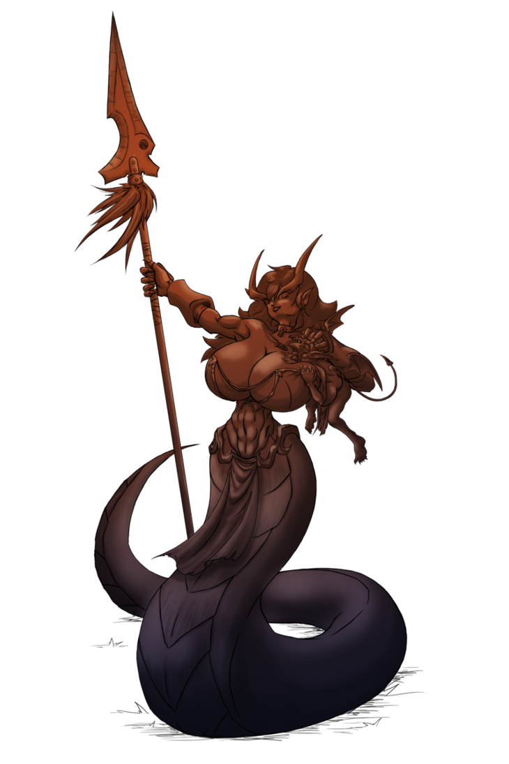 Naga drawing goblin. Comission and imp by