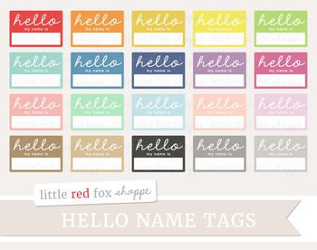 Name clipart vintage. Hello tag label by
