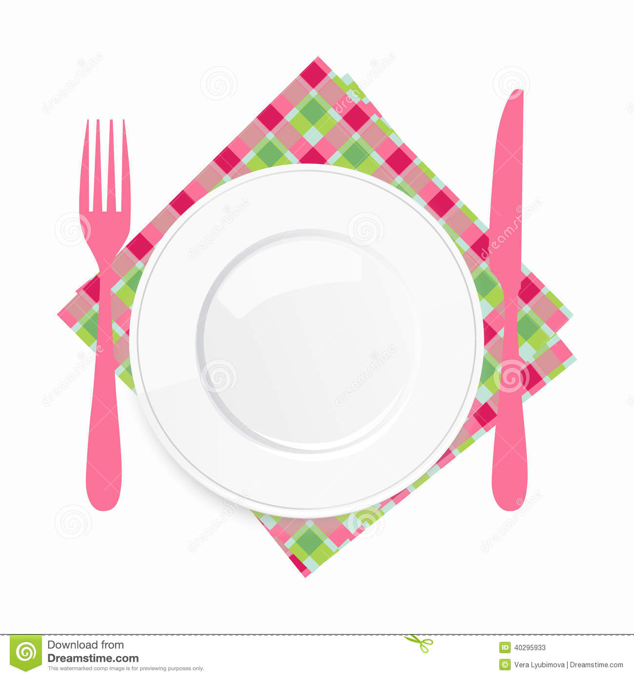 Empty white plate with. Catering clipart knife fork picture black and white download