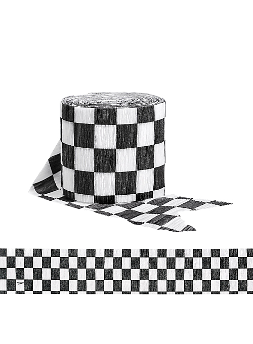 Streamers vector paper. Checkered flag crepe party
