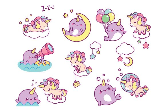 Narwhal clipart pink kawaii. Best friends illustrations creative