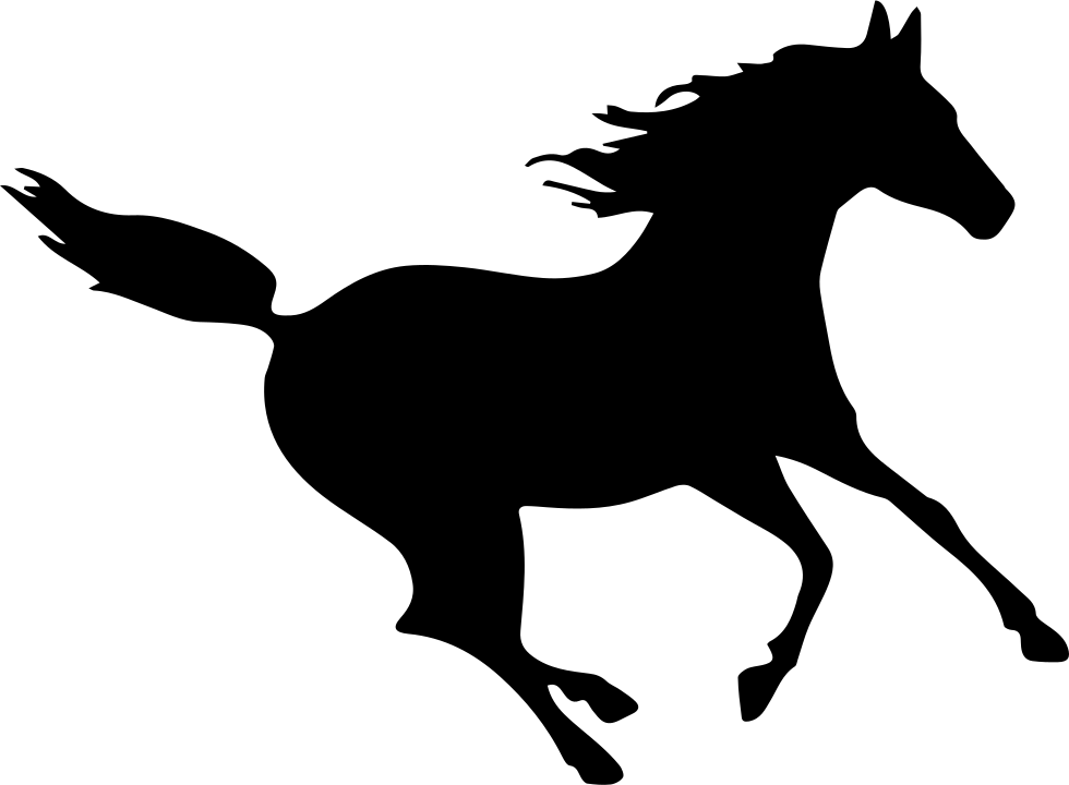 Narwhal svg black and white. Horse fast running silhouette