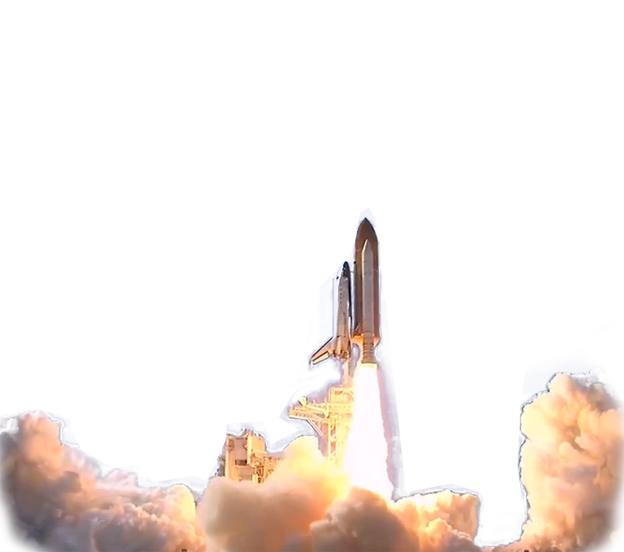 Space shuttle launch png. Transparent background