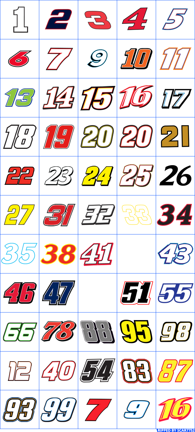 Nascar numbers png. Mobile manager the spriters