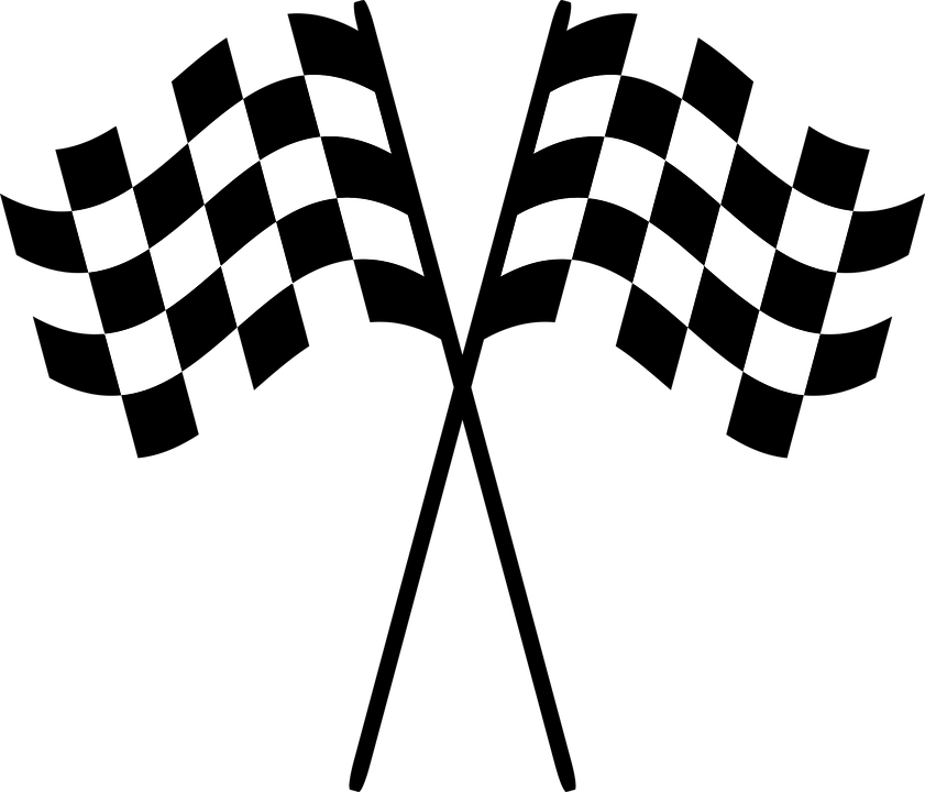 Checkered drawing race flag. Clipart free download on
