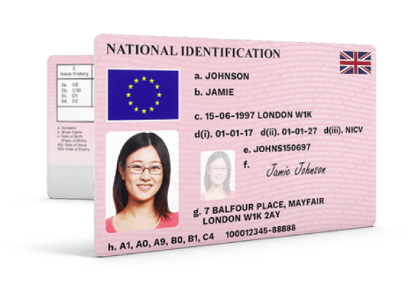 National identification card png. Id type uv overlay