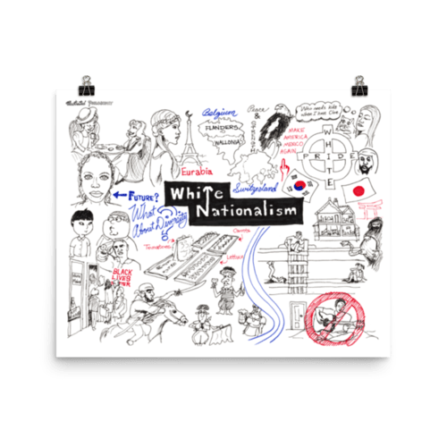 Nationalism drawing illustration. Why i support white