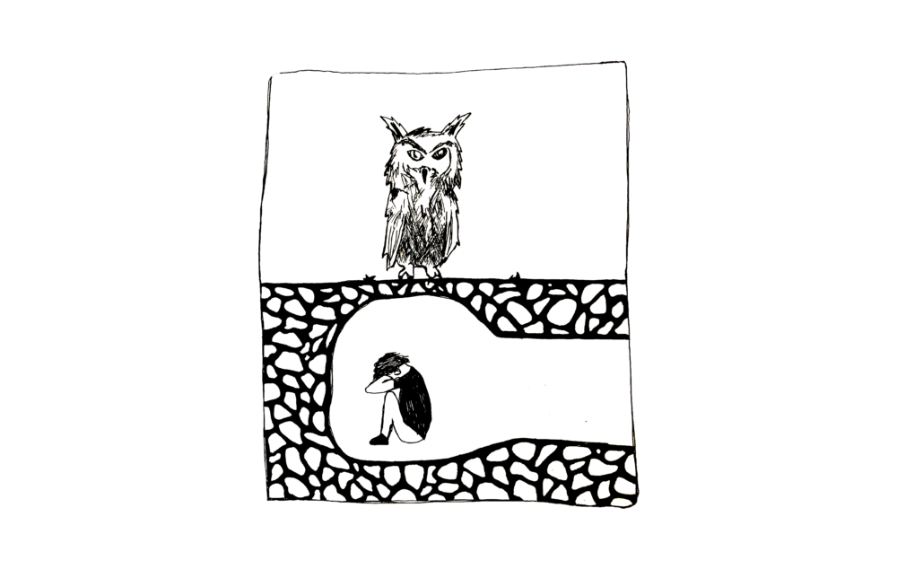 Nationalism drawing blind. The owl and underground