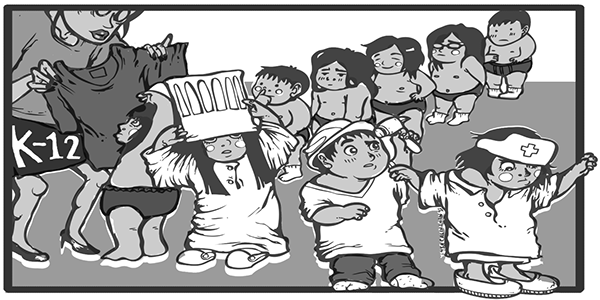 Nationalism drawing editorial cartoon. On the philippines k