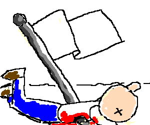 Nationalism drawing kid. Man crushed under the