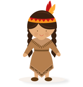 Thanksgiving girl native svg. American clipart file banner library library